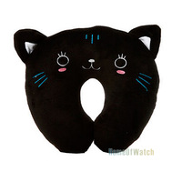 Car Headrest Interior U-shaped Pillow Cartoon Cute Black Cat Neck Decompression Pillow (NAT0NP12004-BL3)
