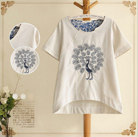 New in 2014 Embroidery Short Sleeve t-shirt Top Women Vintage Peacock Pattern Big Yards Short Sleeve