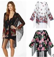 Free shipping 2014 Vintage Retro Women Ethnic Floral Loose Style Kimono Cardigan Jacket Coat Tops