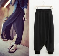 Ladies Leisure Loose Chiffon Stitching nine points Haroun Pants