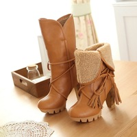 s New high-heeled in tube comfortable rough with the two wearing snow boots size code plus velvet band winter boots lady