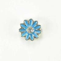 Free Shipping 20 Pcs White Rhinestone Blue Enamel Daisy Origami Owl Floating Charms Fit Living Locket 8mm Dia(W03896 X 1)