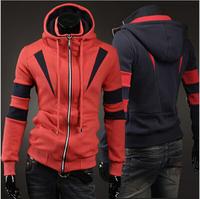 2 Colors 2014 Tops Brand Men's Patchwork Color Double Collar Design Slim Man Hoody Zipper Hoodies Male Sweatshirts M-2XL AX484