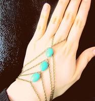 Bracelet Bangle Slave Chain Link Finger Hand Harness Turquoise Anklets Chain