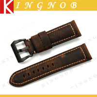24mm Genuine Leather Watch Straps for Panerai Luminor Soft Padded Men's Bracelets for Military Army Watches Handmade Watchband