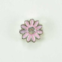 Free Shipping 20 Pcs White Rhinestone Pink Enamel Daisy Origami Owl Floating Charms Fit Living Locket 8mm Dia(W03897 X 1)