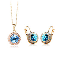 Wholesale 18K Gold White Gold Plated Full Austrian Crystal Jewelry Sets 1075S szf