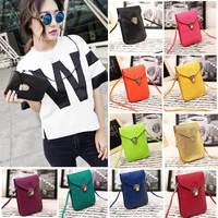 2014 Fashion Preppy Style  Women Mini Bag Cell Phone Bag PU Leather Plaid Purse Messenger Bag Shoulder Bag Bolsas Femininas