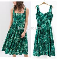 Big Hems Women Slim Waist A-Line Mid-Calf Dress Ladies Green Floral Print Tank Dress Graceful Nice Country Style Cotton Dresses