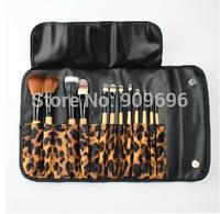 12pcs leopard print luxurious Professional Makeup Brush set Kit Case Cheek red brush eye shadow brush Free shipping 1839