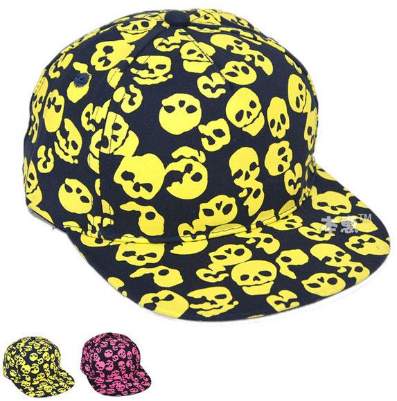 2015 Autumn Children Baseball Hats Boys Girls Skull Printed Hip-hop style Baseball Caps Kids Accessories Free Shippnig 5 PCS(China (Mainland))