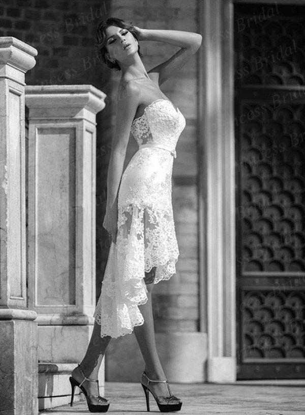 Baratos Querida Sereia Meia-perna Lace Sexy Short Vestidos de casamento com Sash AW373(China (Mainland))