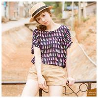 For cat world 2014 summer women's top multicolour 11404332 drop chiffon shirt