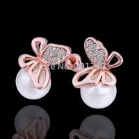 2014 Wholesale Fashion Butterfly Pearl Womens Earrings Korean Jewelry Gold plated Dangle Earrings