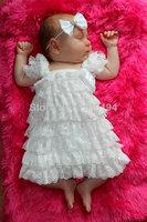 2014 Hot Sale Girls Dress White Lace Christening Dress Blessing Petti Lace Ruffle Tutu Dress Free Shipping