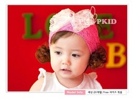 baby girl's Headband Large bowknot headwear Princess  Lace Wide  flowers hairpin headdress  hair accessories whole sale 5pcs/lot