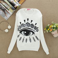 2014 women's cotton hoodies round neck new long sleeve leisure pullover sweater new flocking from the 4 color stars