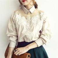 Wholesale Autumn Vintage embroidery blouse,lady's plus size blouse