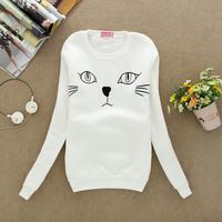 2014 fashion of women's 4 color cat coat plus velvet long-sleeved round neck female models sweater pullover women cotton hoodies