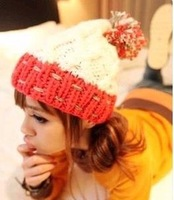 Wild balls hit color wool cap knitted hat cap string line the mouth warm hat Free shipping