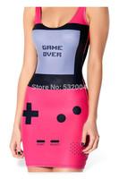 YWNN Lady's Vest One piece Dress O-Neck Packet Hip Dress Vestidos 3D Digital Print Screen Femal Bodycon Dress