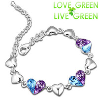 bracelet bangle 2014 Free shipping Fashion heart Jewelry 18K Platinum Plated purple oceanblue Austria Crystal women 80130