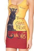 YWNN New Fashion Advanced Black Cat 3d Print Yellow Sleeveless Causel Dress,Girls Party Dresses,Women Bodycon Dress Drop Ship