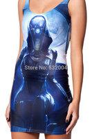 YWNN Lady's Vest One piece Dress O-Neck Hot Packet Hip Dress Vestidos 3D Digital Print Robot Femal Bodycon Dress