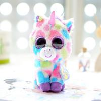 Ty big eyes colorful small unicorn plush toy doll gift