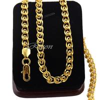 1pcs Punk 7MM Men Women Link Chains Yellow Gold Filled 18K Gold Necklace E223