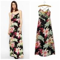 Vestidos Casual Free Shipping Hot Sale Empire Chiffon Vestido 2014 Summer New European And American Big Flower Dress Sexy Halter