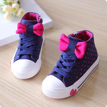 Новый 2014 осень холст обувь размер ( 23-37 ) детская обувь мода принцесса обувь прекрасный бантом девушки кроссовки дети спортивная обувь