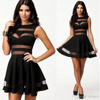 Wholesale - M L Plus Size 2014 New Fashion Women Sexy Mesh Patchwork A Line Black Summer Casual Dress