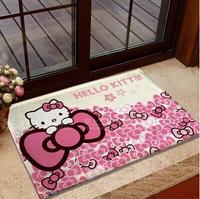 Hot! 2014 House mat Hello Kitty cartoon coral fleece antiskid mat girls doormat kids circular carpet