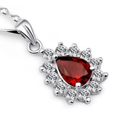 Lily's Jewelry 925 sterling silver pendant nature red garnet semi-precious stone jewelry pendant JAN birthstone z0608010ags(China (Mainland))