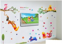 """1set=3pcs,  79""""x79"""" (200x200cm) Bear Butterfly Tree Wall Stickers for Kids Rooms DIY Adesivo de Parede Home Decoration"""