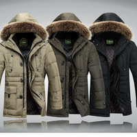 Men's Casual Thicken Warm Winter White Duck Down Coat,Snow Down Jacket With Fuax Fur Hooded,3 Colors,Size M-3XL,ZJ8509,Free Ship