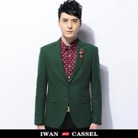 New 2014 Autumn men's  blazer slim fit  men green blazer fashion brief single outerwear suits for men super quality  brand hot