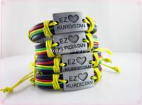 Free shipping Hot sale Fashion Jewelry I LOVE KURDISTAN mens Genuine leather bracelet & Bangles Charm bracelet