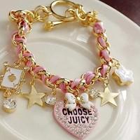 2014 New Arrival Fashion Bow Stars Flowers Heart Poker Leather Bracelets For Women