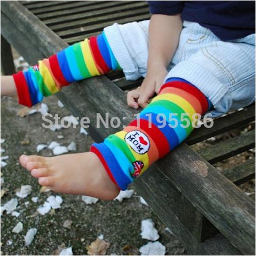 """I love Mom"" Baby Rainbow Leg Warmers Brand Kids Colorful Color Bar Knee Pads Boys and Girls Kneepad 2014 Children Leg Warmers(China (Mainland))"