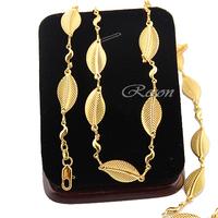 1pcs Womens Men Long 18K Leaf Statement Necklace Gold Filled Link Chains E226