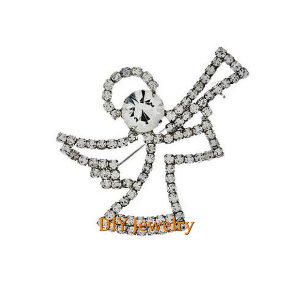 Trendy Fashion Praise Angel Brooch Pin Rhinestone Pageant Jewelry(China (Mainland))