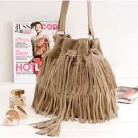 New 2014 suede fringe bag vintage designer women handbag shoulder fashion high quality cross body girl messenger bags A-02