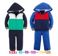 New Autumn boys long sleeve POLO patchwork Sweater + pants casual sports 2pcs set Children clothing suit kids polo wear 5set