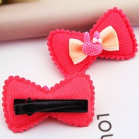 Free shipping fashion Double bowknot Rabbit head cloth art children hair accessories hair clips for girl