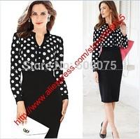 2014 New Womens V-Neck Vintage Slim White Black Polka Dot Dresses With   Knee-length Long Sleeved Package Hip dressess