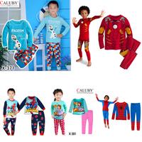 2014 Hot sale Frozen olaf boys pajamas sets spiderman sleepwear iron man Elsa Anna Sofia girls long sleeves pajamas