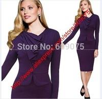 New Fashion Temperament Professional Women Elegant V-Neck Empire Waist   Long Sleeved Bodycon Button Knee-Length Dress