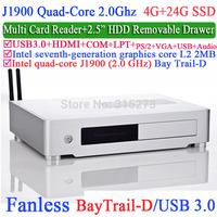 HTPC and desktop computer with Intel Quad-Core J1900 Bay Trail-D 2.0Ghz USB 3.0 COM LPT DirectX 11.0 4G RAM 24G SSD